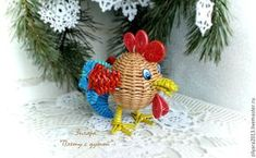 Плетем веселого петушка Петруччо из бумажной лозы - Ярмарка Мастеров - ручная работа, handmade