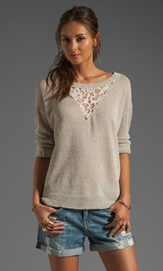 Haute Hippie Pullover Sweatshirt with Lace Inset in Oatmeal Heather | REVOLVE