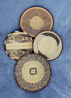 Lovely set of 4 Binga Baskets. African Wall Basket 2 x 1 x 1 x Home Decor Wall Basket, Baskets On Wall, Hanging Baskets, Above Bed Decor, Bohemian Wall Decor, T Set, Minimalist Decor, Hand Weaving, Handmade Items