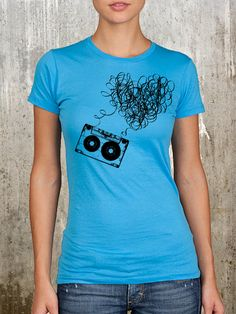 Heart Mixtape  Turquoise Women's Graphic Tee  by CrawlSpaceStudios, $22.50  Want this shirt :-)