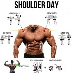 Muscle Training: shoulder day shoulder exercise shoulder training m. Fitness Workouts, Weight Training Workouts, Sport Fitness, Muscle Fitness, Fitness Tips, Workouts For Men, Training Exercises, Gym Fitness, Best Shoulder Workout
