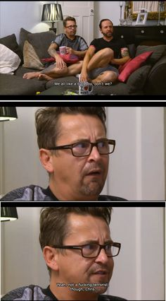 When Stephen and Chris had different reactions watching Homeland. 21 Times Gogglebox Perfectly Captured The British Sense Of Humour Really Funny, The Funny, Growing Up British, Haha, British Memes, British Sitcoms, British Things, British People, Funny Quotes About Life