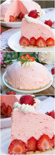 No Bake Strawberry Cheesecake Pie - a layer of fresh strawberries topped with a fluffy strawberry cream cheese mousse. This recipe is one of the best strawberry dessert ever!