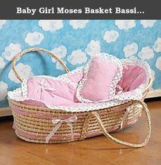 Baby Girl Moses Basket Bassinet Sea Grass Lined, Blanket, Pillow Pink Gingham. Bassinet Moses Basket Girl.