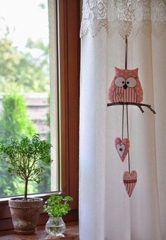 Such a cute Owl mobile Fabric Crafts, Sewing Crafts, Sewing Projects, Craft Projects, Projects To Try, Owl Crafts, Diy And Crafts, Arts And Crafts, Diy Y Manualidades