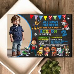 PAW PATROL BIRTHDAY INVITATION  INVITATION: - Digital Upload File - Size 4x6 and 5x7 inch - High resolution (300dpi)  PAYMENT METHOD: - Paypal only  WORK ORDER METHOD: - Your invite will be personalized with your record/information details - The upload file will send by emailed to you within 24 hours is maximum from your purchase - Proof File is JPG/PDF form by size your choose.  How to purchase? Add to your chart then following step and you will see NOTES TO SELLER box, Enter you i...