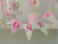 Girls First Birthday Cake Bunting 6 Smash Cake Topper by noolys