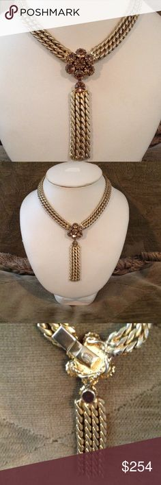 Vintage Vogue JLRY Statement Necklace Beautiful  heavy 3 strands that all come together with a cluster of yellow citrine color stones that is the lock. Then a dangle of three strands. In wonderful condition. Vogue Jewelry Necklaces