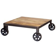 Pushcart Coffee Table by Bois et Cuir by CDI Intl at Gilt Chess Table, Rustic Crafts, Cool Coffee Tables, Rustic Charm, Joss And Main, Industrial Style, Decorating Tips, Furniture Decor, Lincoln