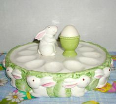 vintage rabbit ceramic figurines | Easter Bunny Deviled Egg Plate with Salt and Pepper Shakers from ...