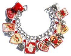 Handmade Valentine's Day Charm Bracelet Candy Heart Boxes Cupid Locket Vintage Altered Art Cards Red Pressed Glass Lampwork Metal Beads