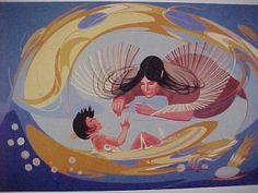 The Creation of Weotanica by Oscar Howe (Native American artist from South Dakota)