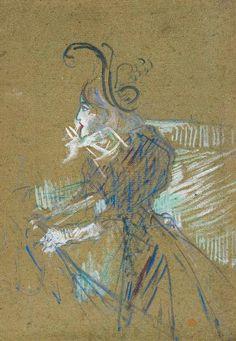 """By Henri de Toulouse-Lautrec (1864-1901), 1896, """"Mademoiselle Diane de Lancy au Palais des Glaces"""" (Skating Professional Beauty), Oil on cardboard, musée Toulouse-Lautrec."""