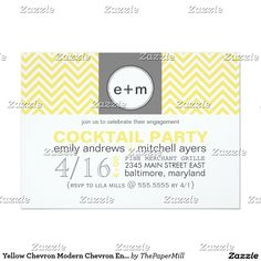 Yellow Chevron Modern Chevron Engagement Party Card