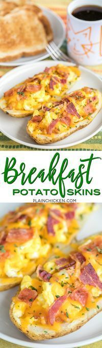 Breakfast Potato Skins - potato skins loaded with eggs, bacon and cheddar cheese. Can make the potatoes ahead of time and finish off in the morning for a quick breakfast. Everyone LOVES these! Can customize with your favorite toppings - sour cream, salsa,