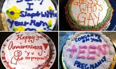 Say it with cake! The shocking not-so-sweet messages made a little easier to swallow inin icing