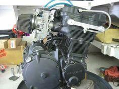 1990 kit / Mikuni carbs / 1990 Cams / V&H ignition advancers / Webbcams top oiling kit. Suzuki Superbike, Suzuki Gsx R 750, Gsxr 750, Custom Street Bikes, Custom Bikes, Custom Cafe Racer, Motorcycle Engine, Cool Cafe, Bike Stuff