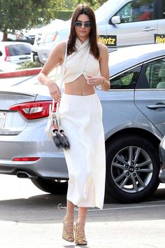 It was all about the wrap crop top for Kendall Jenner during Easter Sunday's church service.