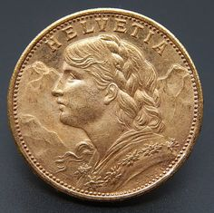 1930 B SWITZERLAND 20 FRANCS LUSTROUS GOLD COIN #gold-coins