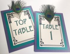 Art Nouveau Peacock Feather Wedding Table Numbers in Teal & Violet