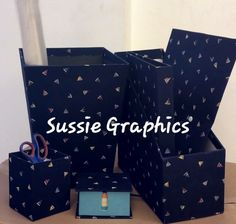 Desktop Set - Dustbin, Organiser, Folder, Ring binder, Pen holder, Notebook and Memo Pad - all wrapped in printed fabric.