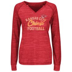 d27256dc8 Majestic Kansas City Chiefs Women s Red Lead Play V-Neck Raglan Long Sleeve  T-Shirt