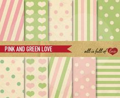 I just released Pink & Green Printable Backgrounds on Creative Market.  #scrapbooking #layouts