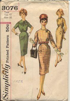 Simplicity 3076 Teen 1950s Slim Skirt and Jacket Pattern Suspender Skirt Back Button Crop Top Womens Vintage Sewing Pattern Bust 32 UNCUT. $18.00, via Etsy.