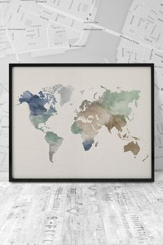 "World map art print, Watercolor world map 20x16"", Printable Wall Art, Watercolor poster, digital typography poster print. INSTANT DOWNLOAD. by ArtFilesVicky on Etsy https://www.etsy.com/listing/237407748/world-map-art-print-watercolor-world-map"