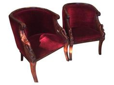 Shop Chairish, the design insider's source for the very best in vintage and contemporary furniture, decor and art. Armchair With Ottoman, Bamboo Dining Chairs, Swan Chair, Art Nouveau, Art Deco, Stylish Chairs, Animal Design, Club Chairs, Hanging Chair