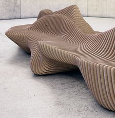 "Collection ""Parametric furniture"" is a project which includes several elements, one of them is a ""MURENA BENCH"". Bench made​ of plywood sections thick, fastened together with iron rods, which arewound on the mounting bolts. This technology makes i… Balcony Furniture, Teak Furniture, Urban Furniture, Street Furniture, Furniture Design, Furniture Stores, Furniture Cleaning, Furniture Dolly, Bespoke Furniture"