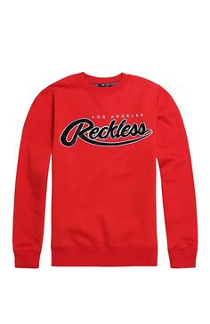 Young & Reckless Big R Script Chenille Crew Fleece - Mens Hoodie - Red from PacSun