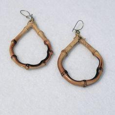 Bamboo Earrings Hoop Tiki Real Wood Tear Drop Shape Pierced Ear Vintage Jewelry