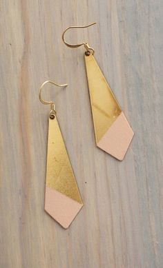 Large Pointed Angle Blush Color Dipped Brass