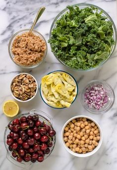 Ultimate Detox Salad Let's review our detox dream team: crunchy kale; bright cherries (strawberries, blueberries, raspberries, and grapes would be excellent too); walnuts; whole grains (I used farro—quinoa or brown rice are good swaps, if you prefer); artichokes; lemon; and chickpeas, plus red onions for a little zip.
