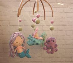 Mermaid Cot Crib Mobile Handmade Under sea Chibi Mermaid Doll birthday gift Toys for baby mobile Baby shower gift nursery decor Decorations Mermaid Under The Sea, Crochet Mermaid, Felt Bows, Baby Crib Mobile, Mermaid Dolls, Etsy Shipping, Cot, 1 Piece, Baby Toys