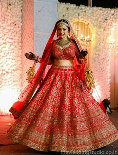 Looking for Red bridal lehenga with choli cut blouse? Browse of latest bridal photos, lehenga & jewelry designs, decor ideas, etc. on WedMeGood Gallery. Indian Bridal Outfits, Indian Bridal Fashion, Indian Bridal Wear, Indian Dresses, Bridal Dresses, Indian Wear, Indian Wedding Lehenga, Bridal Lehenga Choli, Bollywood Lehenga
