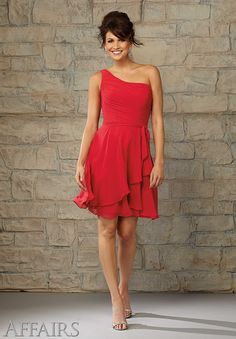 31056 Bridesmaids Dresses Chiffon, Short Bridesmaids Dresses, Red Bridesmaids Dresses #OneShoulderBridesmaidsDresses