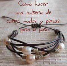 como hacer una pulsera de cuero, nudos y perlas