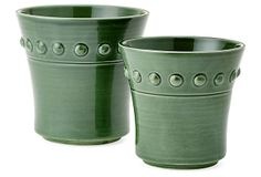 Green Earthenware Planters, Asst. of 2 on OneKingsLane.com