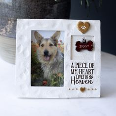 A Piece Of My Heart Picture Frame - Pet Memorial Gifts & Dog Sympathy Memorials – Every Sale Donates to Shelters in Honor of Your Pup - Pet Memorial Gifts, Dog Memorial, Memorial Ideas, Pet Memorial Frames, Heart Pictures, Dog Pictures, Souvenir Animal, Dog Shadow Box, Dog Passed Away