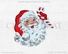 RETRO SATNA Clipart Commercial Use Clipart Santa by ClipArtBrat