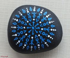 Medium Hand Painted Alchemy Stone with Blue & White Sacred Geometry Starburst Mandala Design Pebble Painting, Pebble Art, Stone Painting, Diy Painting, Rock Painting, Painted Pavers, Hand Painted Rocks, Painted Stones, Tribal Theme