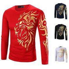 Patrón de estampado de la camiseta de algodón ocasional del león del oro de los hombres mezcló las tapas