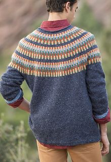 This unisex DK-weight cardigan, part of the larger book collection, Free Spirit Knits, is knit from the bottom hem up to the armholes in the round. The sleeves are then knit in the round and the body and sleeves are joined at the yoke. The yoke is shaped with decrease rounds interspersed with easy vertically striped colorwork bands. This piece has minimal seaming.