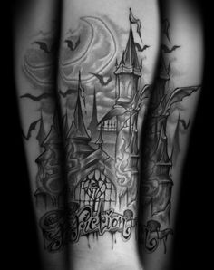 Castle and bats tattoo