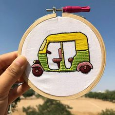 I painted a taxi for an assignment and then I thought of embroidering it. So here it is! 🚕 Click on the image to see the painted version. #embroidery #handembroidery #craft #craftprojects #art #diy #handmade #threadpainting #fibreart Fashion Illustrations, Fashion Sketches, Thread Painting, Taxi, Fiber Art, Hand Embroidery, Craft Projects, Coin Purse, Thoughts