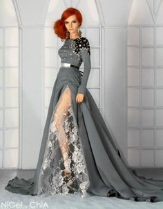 Nigel Chia Grey & White Lace Long Gown for Iplehouse EID Medium Bust Woman BJD
