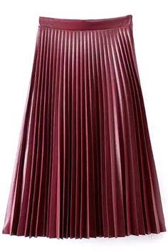 Plain High Waist Pleated A-Line Maxi PU Skirt