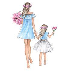 Which style is closer for you 1 2 3 Mother And Daughter Drawing, Mother Art, Mom Daughter, Mother And Child, Pregnancy Art, Drawings Of Friends, Mothers Day Drawings, Girly Drawings, Pencil Drawings